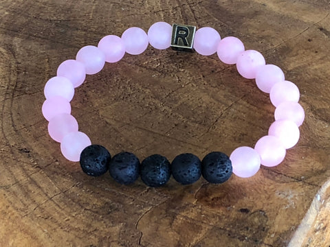 "Rose Quartz and Lava Natural Gemstone Bracelet - ""I feel..."" Love"