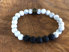 "Howlite Natural Stone Aromatherapy Bracelet - ""I feel..."" Focused (SALE!)"