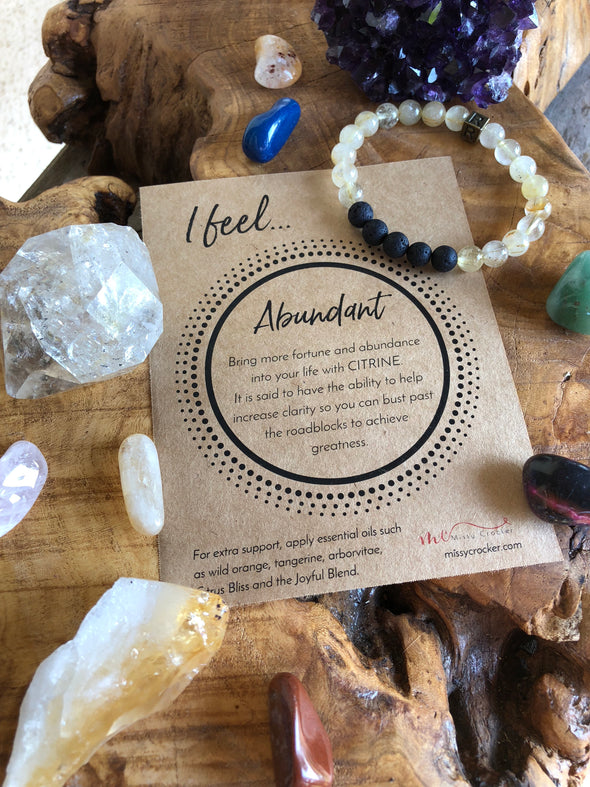 "Citrine Natural Gemstone Aromatherapy Bracelet ""I Feel...""  Abundant"