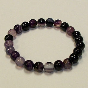 Purple Striped Agate Stone Bracelet