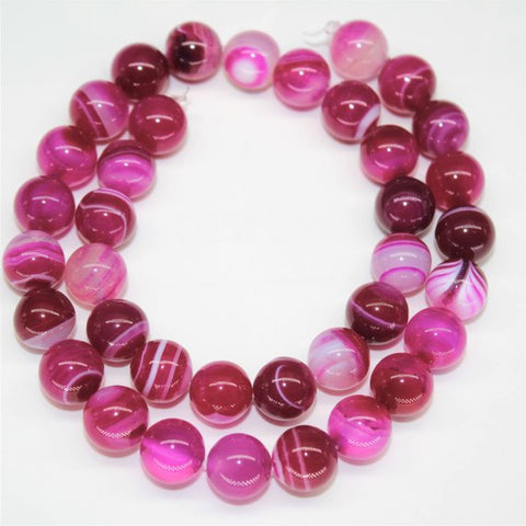 Red Rose Agate Natural Stone Beads - Glossy - 8mm