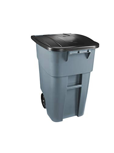 Rubbermaid Commercial Products FG9W2700GRAY Brute Rollout Heavy-Duty Wheeled Trash/Garbage Can, 50- Gallon, Gray