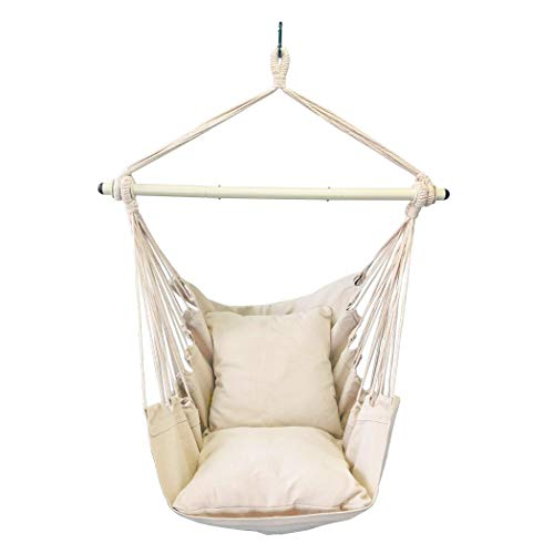 Highwild Hanging Rope Hammock Chair Swing Seat for Any Indoor or Outdoor Spaces - 500 lbs Weight Capacity - 2 Seat Cushions Included (Beige)