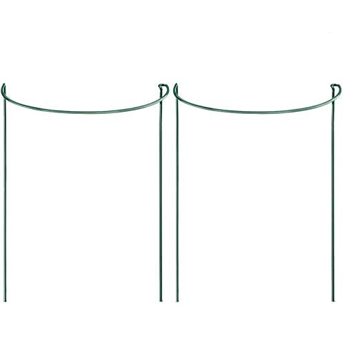 "Orgrimmar 2-Pack Half Round Metal Garden Plant Support, Plant Support Stake, Plant Support Ring Cage for Rose Clematis Climbing Vine (9.8"" Wide x 15.8"" High)"