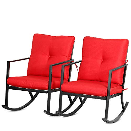 Bali Outdoors Patio Rocker Chair Rocking Chairs 2 Piece Modern Outdoor Furniture Red Thick Cushions, Black Steel Frame