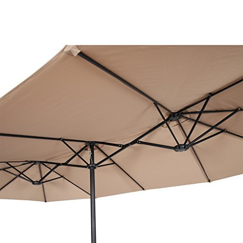 Iwicker 15 Ft Double-Sided Patio Umbrella Outdoor Market Umbrella with Crank, Umbrella Base Included (Beige)