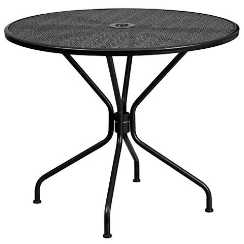 "Flash Furniture Commercial Grade 35.25"" Round Black Indoor-Outdoor Steel Patio Table"
