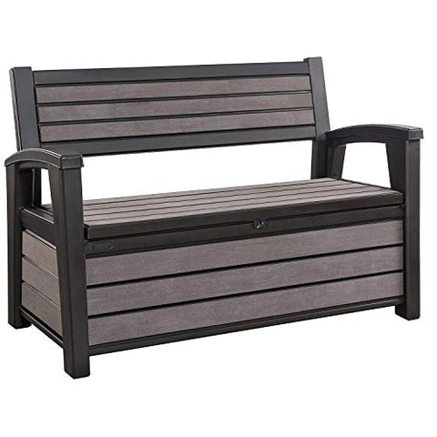 Keter Hudson 60 Gallon Plastic Resin Weather Resistant Outdoor Backyard Patio Storage Bench Deck Box, Brown