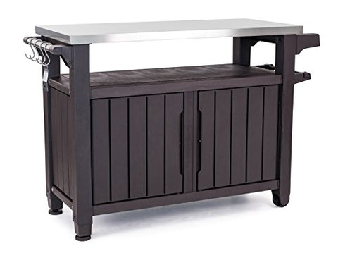 Keter Unity XL Portable Outdoor Table and Storage Cabinet with Hooks for Grill Accessories-Stainless Steel Top for Patio Kitchen Island or Bar Cart, Espresso Brown