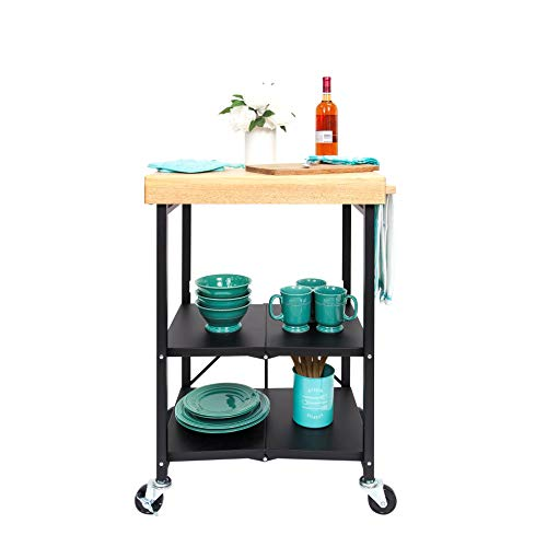 Origami Folding Kitchen Cart on Wheels | for Chefs Outdoor Coffee Wine and Food, Microwave Cart, Kitchen Island on Wheels, Rolling Cart, Kitchen Appliance & Utility Cart | Black with Wood