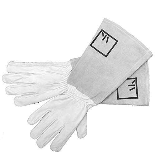ArtAK Rose Pruning Gloves Leather Gardening Gloves Thorn Proof Long Sleeve Rose Gloves for Rose Bushes Ready to Plant Garden Gloves Cowhide Suede Gauntlet Glove Cactus Gloves White Large