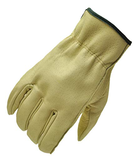 G & F 2002M-3 Full Grain Pigskin Leather Work Gloves, Drivers Gloves, Premium Washable Leather, Size Medium. (Value Pack: 3 pairs)