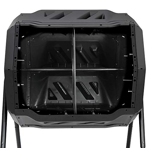 F2C 43 Gallon Dual Chamber Large Composting Tumbler Outdoor Garden Yard Compost Bin w/ Sliding Door & Solid Steel Frame, Black 360° Rotating