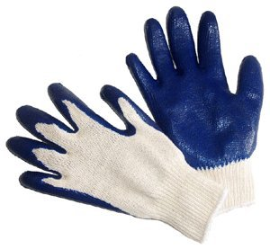 G & F 3100L-DZ Knit Work Gloves,  Textured Rubber Latex Coated for Construction, 12-Pairs, Men's Large