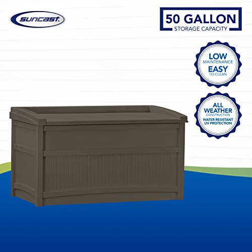 Suncast 50-Gallon Medium Deck Box - Lightweight Resin Indoor/Outdoor Storage Container and Seat for Patio Cushions and Gardening Tools - Store Items on Patio, Garage, Yard - Java