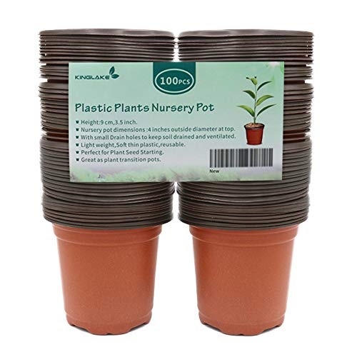 "KINGLAKE 100 Pcs 4"" Plastic Plants Nursery Pot/Pots Seedlings Flower Plant Container Seed Starting Pots"