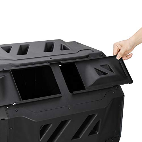 Large Composting Tumbler 43 Gallon Capacity Composter , Dual Chamber Compost Bin Outdoor Rotating Garden Yard Waste Bins