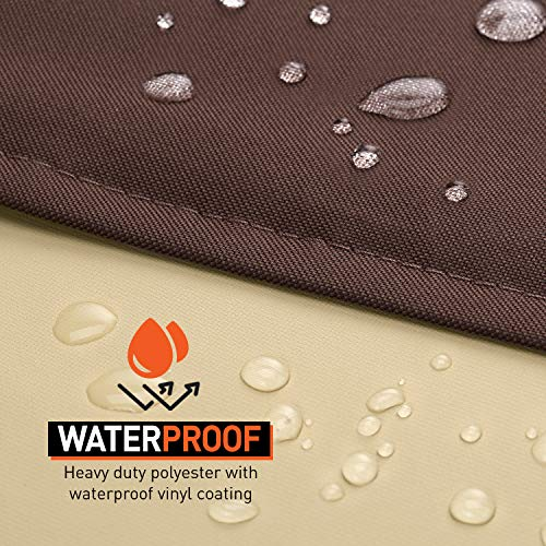 "Arcedo Outdoor Sofa Cover, Heavy Duty Waterproof Patio Oversized Sectional Cover for 3-Seater Couch, Large Durable Garden Furniture Bench Cover with Air Vent, 90"" x 34"" x 32"", Beige & Brown"