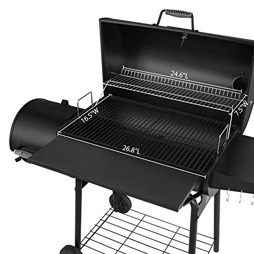 Royal Gourmet CC1830SC Charcoal Grill Offset Smoker with Cover, 810 Square Inches, Black, Outdoor Camping