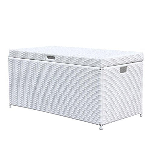 Outdoor 70 Gallon Wicker Deck Storage Box Color: White