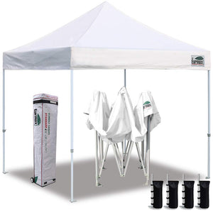 Eurmax 10'x10' Ez Pop Up Canopy Tent Commercial Instant Canopies with Heavy Duty Roller Bag,Bonus 4 Canopy Sand Bags (Bleached White)
