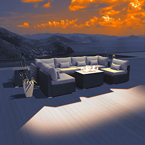 DINELI Patio Furniture Sectional Sofa with Gas Fire Pit Table Outdoor Patio Furniture Sets Propane Fire Pit (Light Grey-Rectangular Table)
