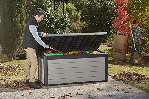 Keter Denali 150 Gallon Resin Large Deck Box-Organization and Storage for Patio Furniture, Outdoor Cushions, Garden Tools and Pool Toys, Grey & Black