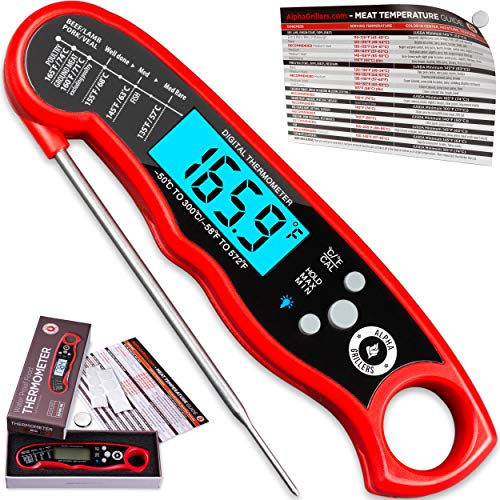 Alpha Grillers Instant Read Meat Thermometer for Grill and Cooking. Best Waterproof Ultra Fast Thermometer with Backlight & Calibration. Digital Food Probe for Kitchen, Outdoor Grilling and BBQ!