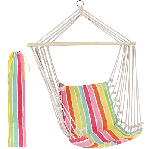 Hanging Rope Hammock Chair Swing Seat for Any Indoor or Outdoor Spaces - Pink Stripe