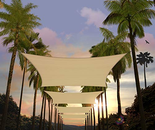 Amgo 12' x 16' Beige Rectangle Sun Shade Sail Canopy Awning, 95% UV Blockage, Water & Air Permeable, Commercial and Residential, for Patio Yard Pergola, 5 Years Warranty (Available for Custom Sizes)