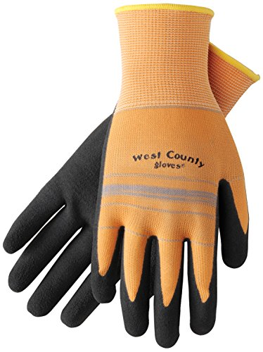 West Chester Protective Gear 030A/XS West County Gardener Gloves – X-Small, Apricot/Slate, Protective Work Gloves with Foam Nitrile Palm, Fingertip Coating