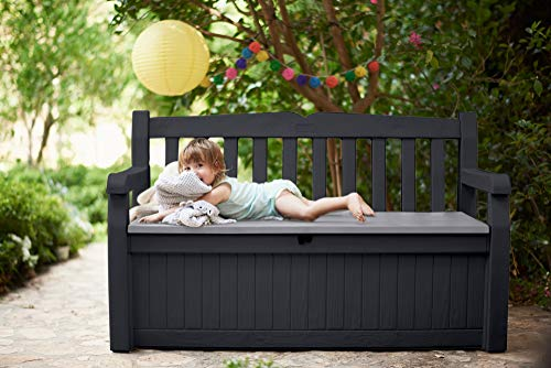 Keter Eden 70 Gallon Storage Bench Deck Box for Patio Furniture, Front Porch Decor and Outdoor Seating – Perfect to Store Garden Tools and Pool Toys, Grey