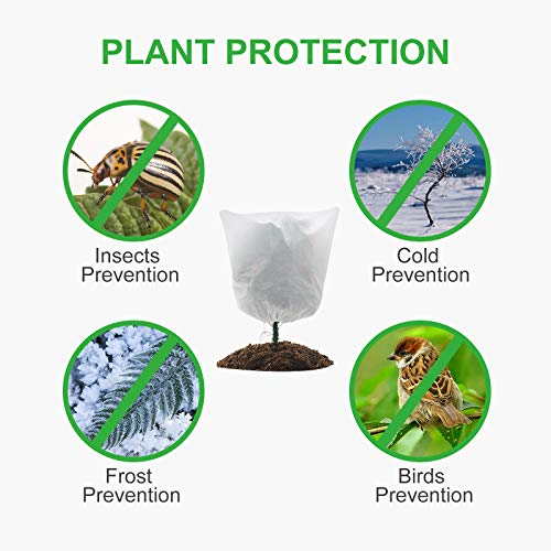 GROWNEER 3 Packs Thickened 1.77 oz 39 x 39 Inches Plant Covers Plant Protection Bags Frost Cloth with Drawstring, Shrub Jacket Winter Tree Cover for Cold Frost Freeze Bird Insect Prevention, White