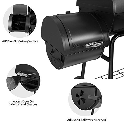 "Royal Gourmet 30"" BBQ Charcoal Grill and Offset Smoker 