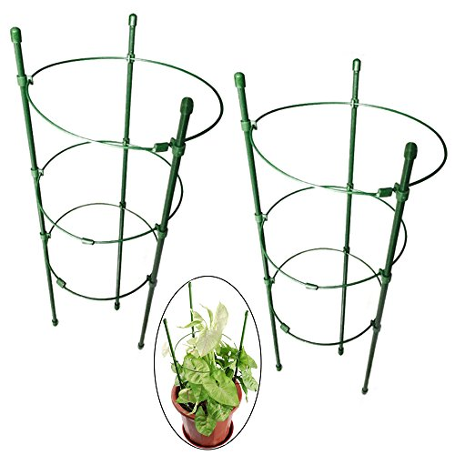 "Orgrimmar Vine Trellis Support 17.7"" Flowers Plants Cage Triple Plastic Pillar with Iron Rings Vine Plants Holder Stand Small Pot Plant Trellis for Home Garden Balcony(Pack of 2)"