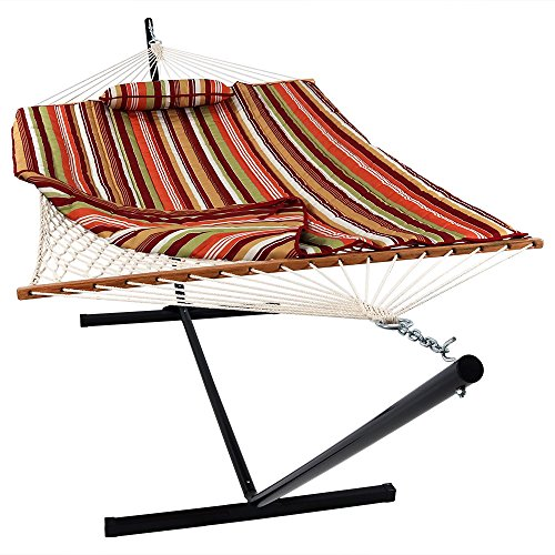 Sunnydaze Cotton Rope Freestanding Hammock with 12 Foot Portable Steel Stand and Spreader Bar, Pad and Pillow Included, Tropical Orange