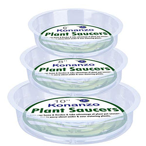 Konanzo Plant Saucer 15 Pack of Clear Plastic Saucers Drip Trays in Assorted Sizes (6 inch/8inch/10inch) Flower Pot Tray for Indoors & Outdoor Plants or Planter pots. (1, 6,8,10 inch)