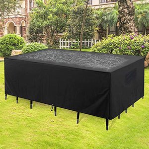 "GARDRIT 2020 Upgraded Patio Furniture Covers, 100% Waterproof Rectangular Patio Table Cover, 90"" L x 56"" W x 27.5"" H 600D Tear-Resistant Sofa, Table and Chair Outdoor Furniture Set Covers"