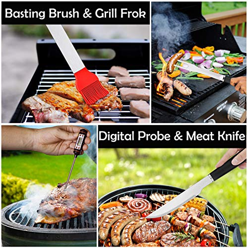 HaSteeL Grill Utensil Set of 27, Heavy Duty Stainless Steel Barbecue Accessories with Carrying Bag, Complete BBQ Grilling Tools Kit Perfect for Outdoor BBQ Backyard Cooking, Dishwasher Safe & Man Gift