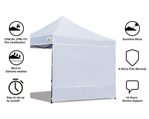 ABCCANOPY Instant Canopy SunWall (15+Colors) for 10x10 Feet, 10x20 Feet Straight Leg pop up Canopy, 1 Pack Sidewall Only, White