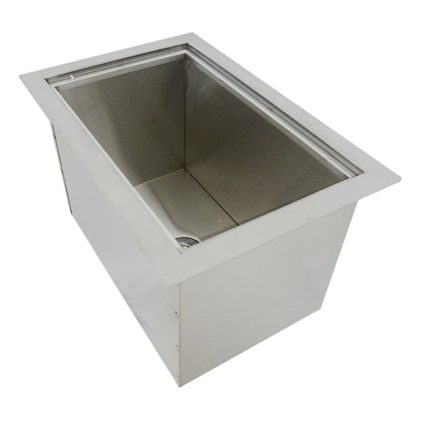 "SUNSTONE B-IC14 Over/Under Height Single Basin Insulated Wall Ice Chest with Cover, 14"" x 12"", Stainless Steel"