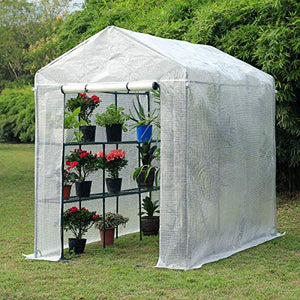"Erommy 84"" W x 56"" D x 77"" H Mini Walk-in Greenhouse,Indoor Outdoor Plant Gardening, 2 Tier 6 Shelves Hot House for Flowers, Plants and Vegetables,White"