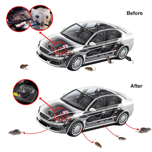 Loraffe 2 Pack Under Hood Animal Repeller Battery Operated Rodent Repellent Ultrasonic Rat Deterrent Keep Mice Away from Car with Ultrasounds and LED Strobe Lights Vehicle Pest Control Rodent Defense
