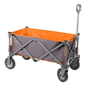 PORTAL Collapsible Folding Utility Wagon Quad Compact Outdoor Garden Camping Cart Removable Fabric, Grey