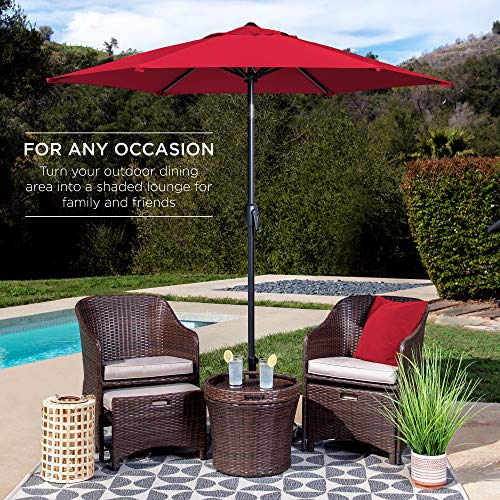 Best Choice Products 7.5ft Heavy-Duty Round Outdoor Market Patio Umbrella w/Steel Pole, Push Button Tilt, Easy Crank Lift - Red