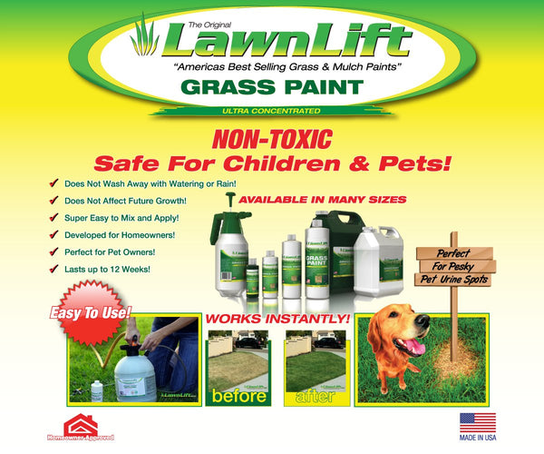 Lawnlift Ultra Concentrated (Green) Grass Paint 8oz. = 2.5 Quarts of Product.