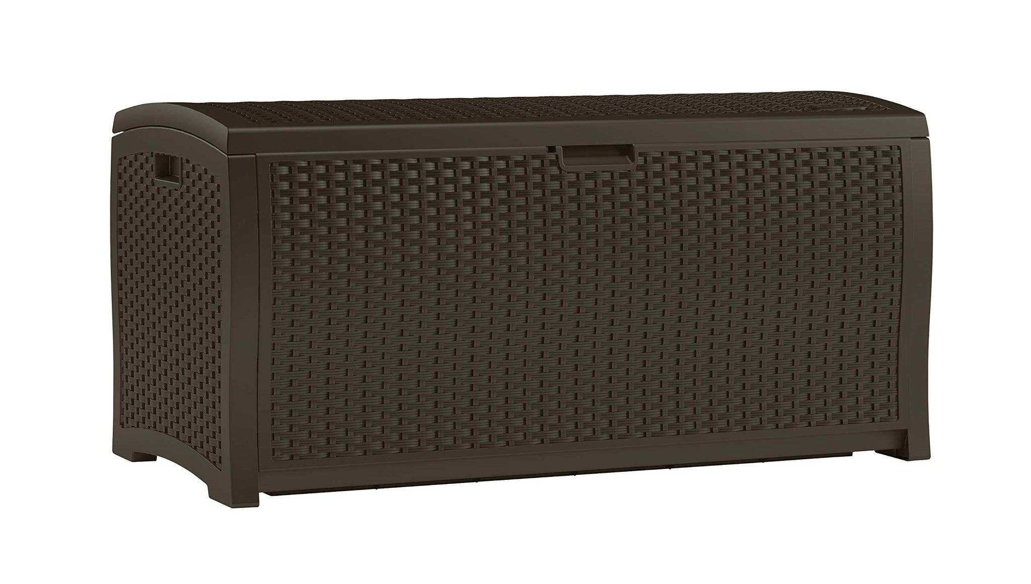 Suncast 99-Gallon Large Deck Box - Lightweight Resin Indoor/Outdoor Storage Container and Seat for Patio Cushions and Gardening Tools - Store Items on Patio, Garage, Yard - Mocha