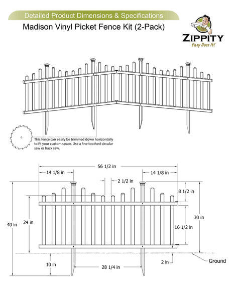 Zippity Outdoor Products ZP19001 Picket Fence, 1 x Pack of 2, White