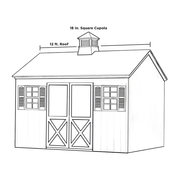 "Good Directions Kent Vinyl Cupola with Wood Roof 18"" x 22"""