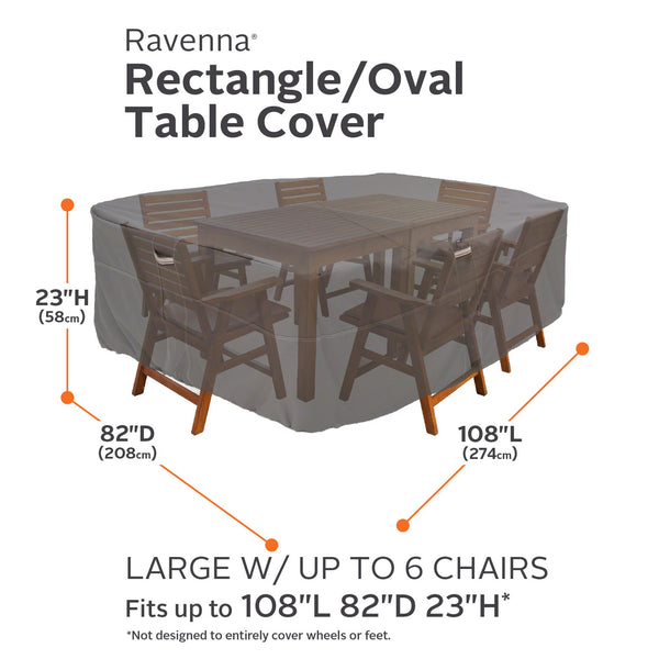 Classic Accessories Ravenna Oval/Rectangular Patio Table & Chair Cover, Large